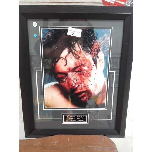 29 - Raging Bull movie, Robert Deniro autograph  photo framed with certificate of authenticity...