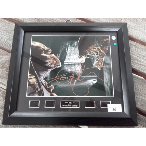 30 - Alien vs predator Ian Whyte autograph photo framed with certificate of authenticity...