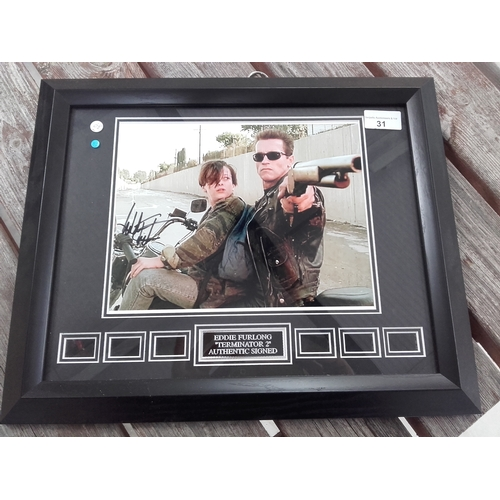 31 - Terminator 2 Eddie Furlong autograph photo framed with certificate of authenticity...