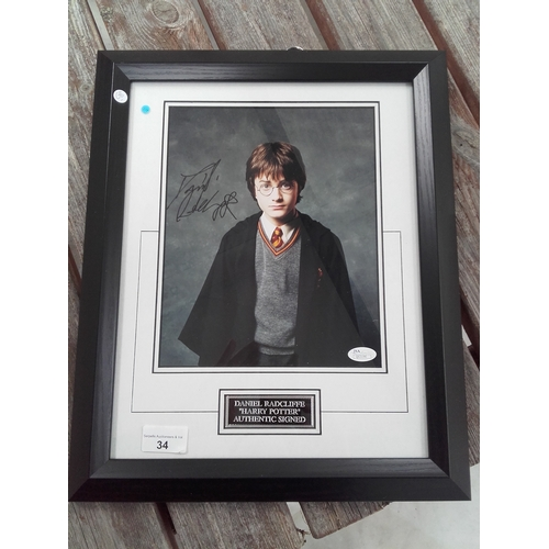 34 - Harry potter Daniel Radcliffe autograph photo framed with certificate of authenticity...