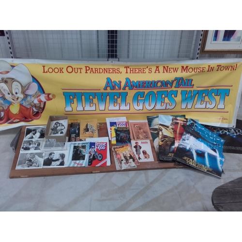 38 - Large lot of movie memorabilia, including Star wars posters, black & white movie stills & large Amer...