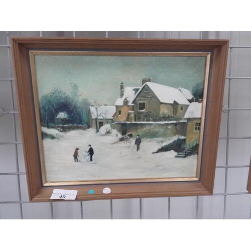 40 - Small snow scene oil on canvas...