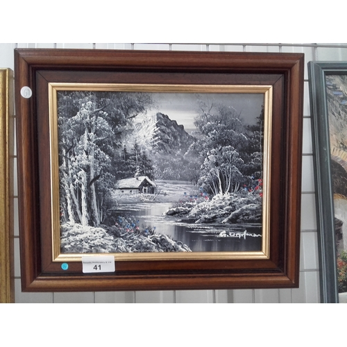 41 - Small black and white painting signed by the artist....