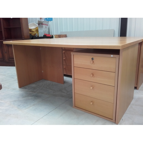 50 - Office desk with four pull out drawers with keys...
