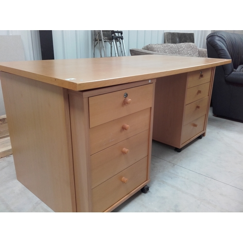 51 - Office desk with four pull out drawers with keys...