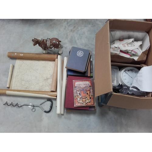 53 - Large box of royal books, prints, ceramic shire horse etc...