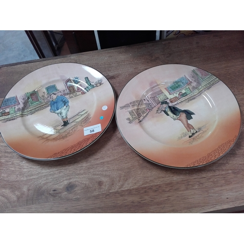 58 - 2 Royal Doulton Dickens Ware plates 'The Fat Boy' & 'Mr Pickwick'...