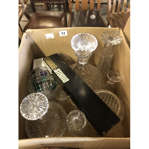 11 - BOX OF CUT GLASS DECANTERS...