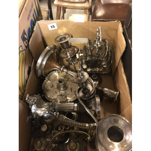 15 - SHEFFIELD PLATE 2 BRANCH CANDLESTICK, 2 CENTRE PIECE STANDS, TOAST RACK ETC