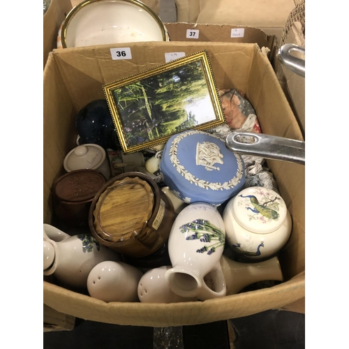 36 - BOX OF JUGS & POTS INC ROYAL WORCESTER, WEDGWOOD ETC...