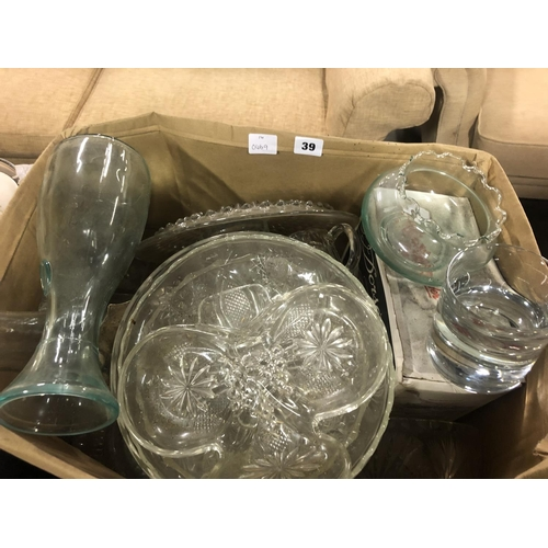 39 - BOX OF GLASSWARE INC DECANTER, CAKE STAND ETC...