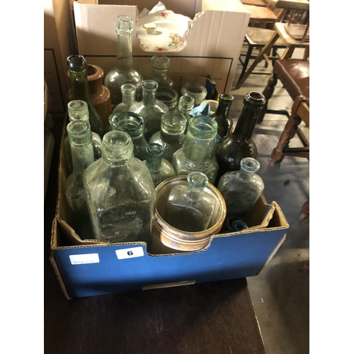 6 - BOX OF VICTORIAN BOTTLES...