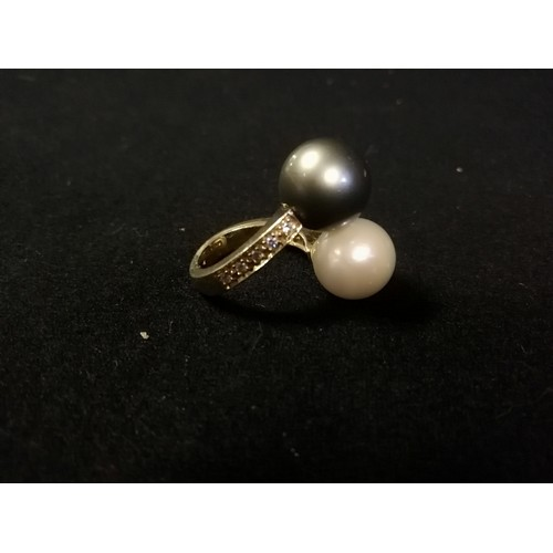 4 - 18ct yellow gold diamond set crossover pearl sporting a south seas black & white pearl (approx 13mm ...