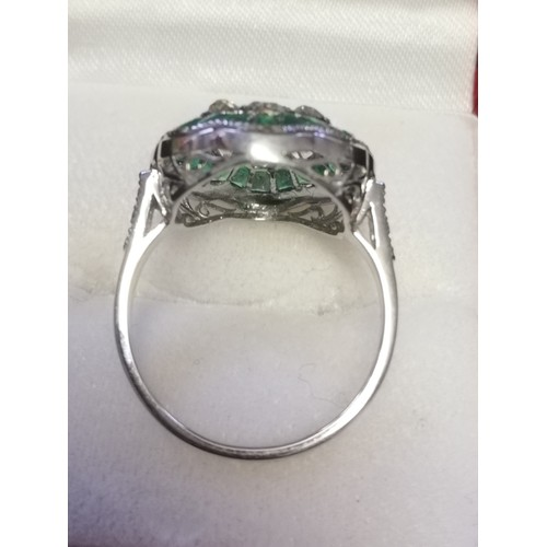 12 - Platinum emerald & diamond daisy style ring -approx 0.95ct old cut diamonds & 1.45ct emeralds...