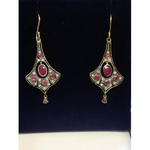 22 - Pair of drop earrings set with rubies & diamonds...