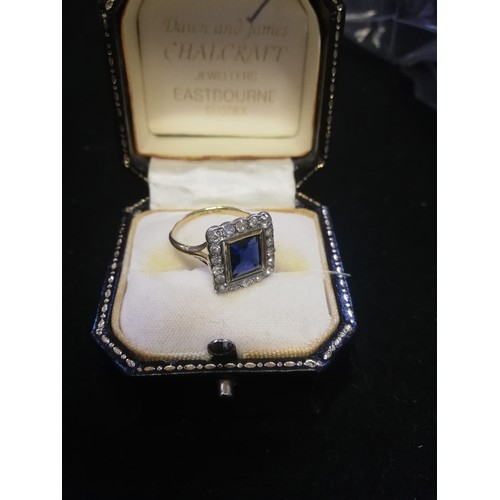 25 - Antique 18ct (unhallmarked) yellow gold square sapphire and old cut diamond ring...