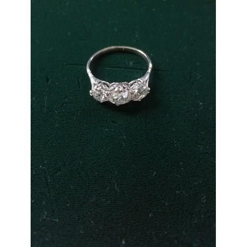 36 - Antique 3 stone Diamond white metal ring 4ct in total...