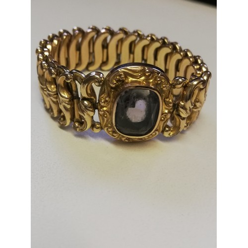 1 - Minerva rolled gold expanding bracelet with amethyst central stone...