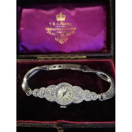 38 - Platinum & diamond ladies cocktail watch on 9ct white gold bracelet - Vertex manual wind movement...