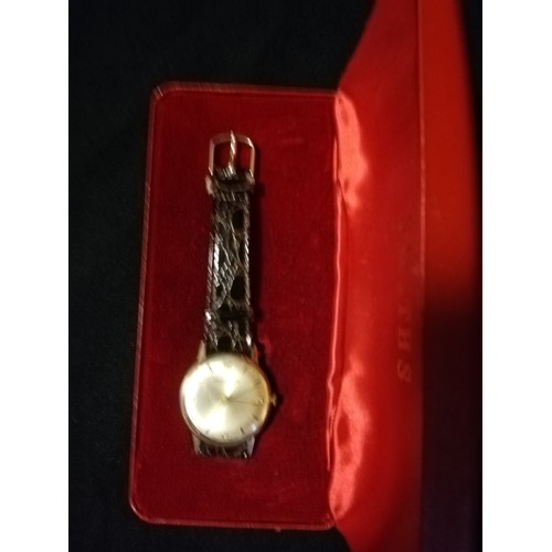 40 - 9ct gold cased Smiths Astral national 17 wristwatch in original box...