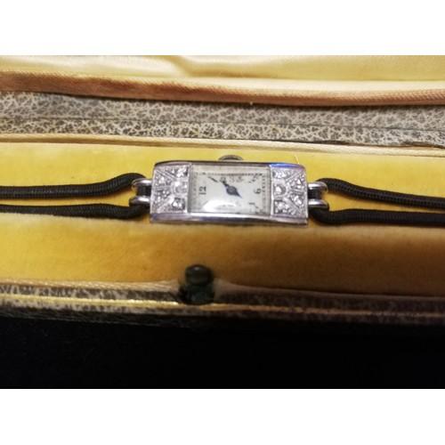 41 - Asprey platinum and diamond cocktail watch -original box (damaged)...