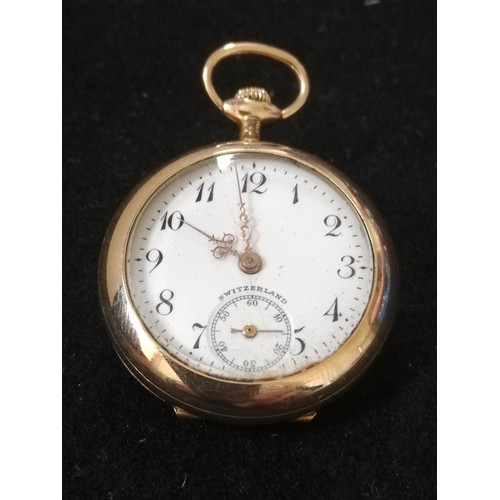 44 - Gold plated ladies fob watch with bird decoration & with diamond set back plate...