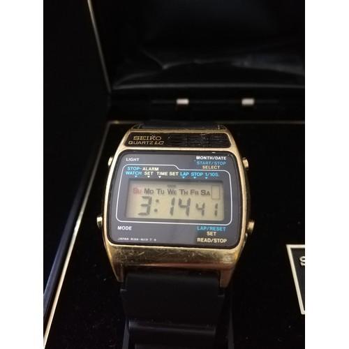 46 - Seiko quartz LC wristwatch on rubber strap in original box...
