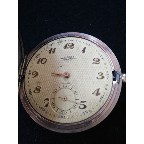 48 - Gold plated German pocket watch by Wempe -a/f running order but lacking minute hand & glass -2