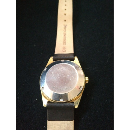 50 - Omega automatic geneve wristwatch with gold plated case & stainless steel back (engraved with 2-9-70...
