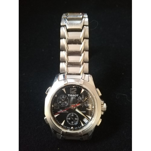 56 - Tissot gents stainless steel PR100 chrono alarm wristwatch -in running order -Tissot was founded in ...
