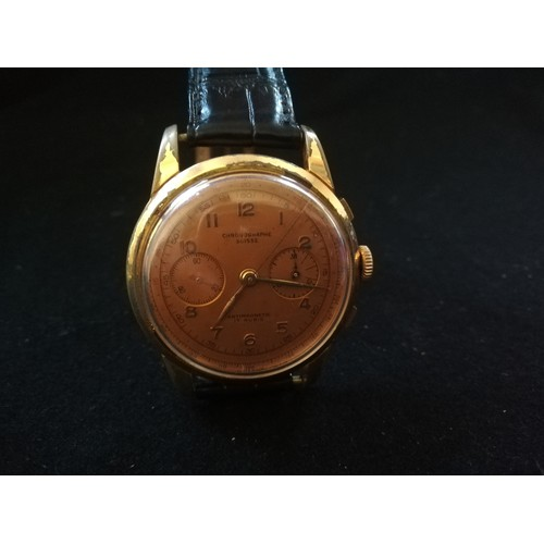 57 - Vintage chronographe suisse wristwatch with plated case - spares / repairs...