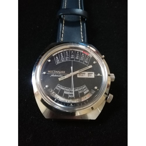 59 - Wittnauer 2000 automatic perpetual calendar watch -stainless steel case & leather strap - in running...