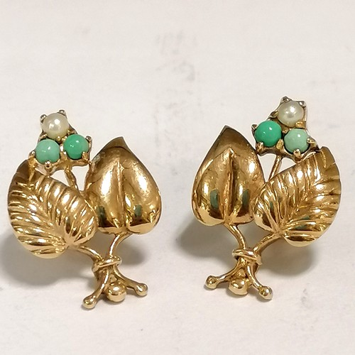 158 - 9ct gold turquoise & pearl berry & leaf pair of earrings - 4.3g total weight...