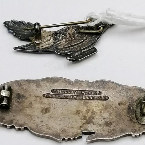 213 - Unmarked silver enamel brooch of a blue bird (with metal pin) t/w Genuine Cloisonne sterling silver ...