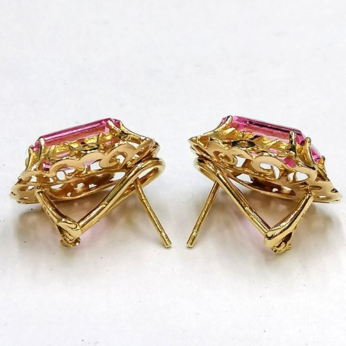 260 - Pair of 18k gold earrings set with pink tourmalines...
