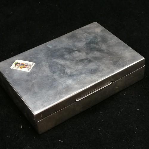 296 - 935 Silver enamel detail cards 'Jolly Jocker' box/ cigarette box - weight 290g - missing base & inte...