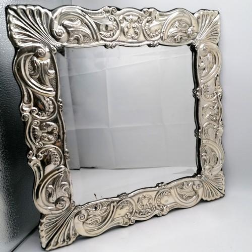 304 - Large silver framed bevelled mirror (without back) - 16½