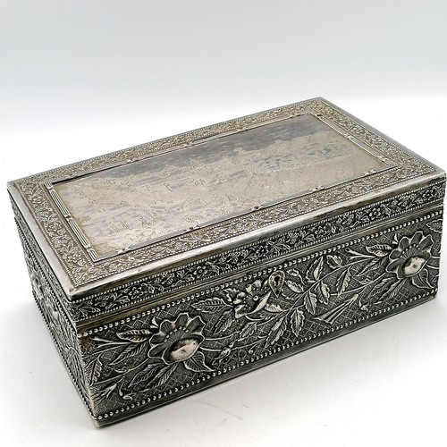 307 - Indian silver cased box with engraved decoration with velvet interior & 1931 presentation plaque ins...