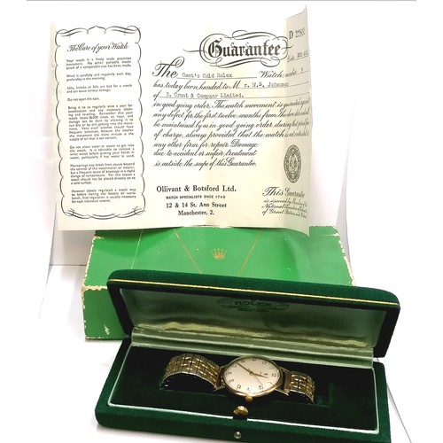 357 - 1960 dated & inscribed Rolex manual wind wristwatch in a 9ct gold coin edge case on a sprung plated ...