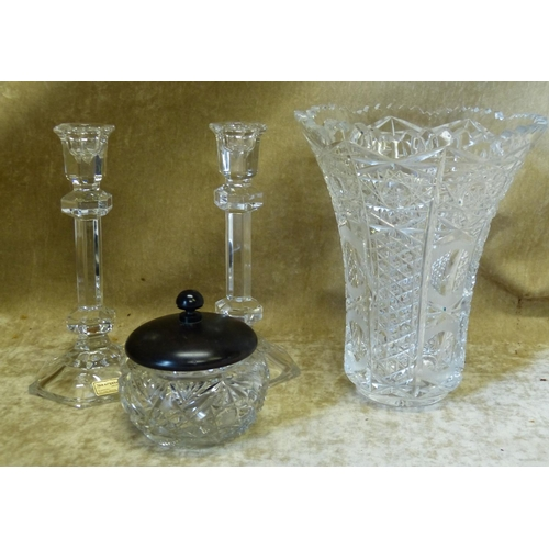 107 - A Cut Glass Round Trumpet Shape Vase having tooth cut rim, 20.5cm high, a pair of glass hexagonal ca...