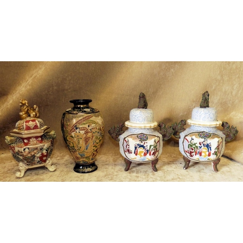109 - A Pair of Oriental Glazed Earthenware Koro's with covers having multicoloured figure decoration on s...