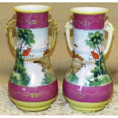 110 - A Pair of Noritake Style Bulbous Trumpet Shape 2-Handled Vases on yellow and pink ground with multic...