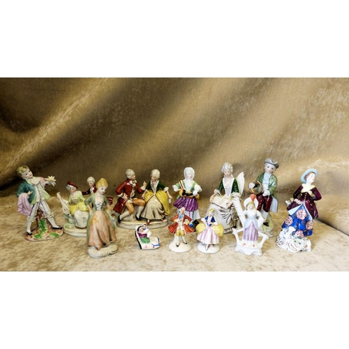 114 - A China Figure of  Lady in Red Coat (neck restored) and 11 various other china figures and groups (1...