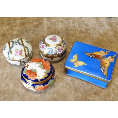 122 - A Derby Style Imari Bulbous Shape Lidded Pin Box, 2 similar Limoges lidded pin boxes, a Noritake rec...