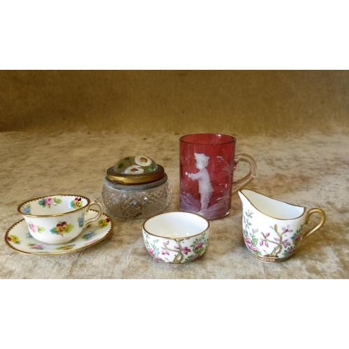 123 - A Miniature Coalport Milk Jug and Sugar Bowl having Indian Tree Pattern decoration, a miniature Mint...