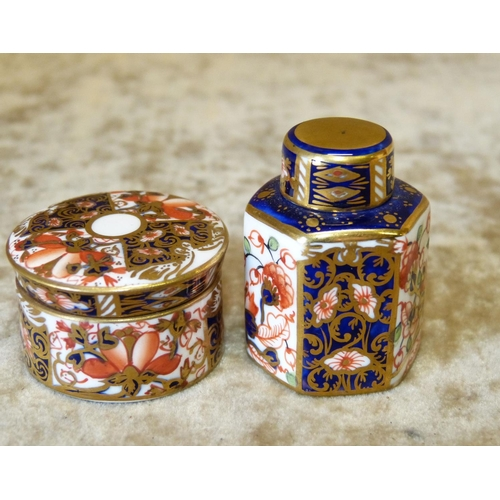 129 - A Royal Crown Derby Imari Pattern Miniature Hexagonal Ginger Jar with cover, 4cm high, also a Royal ...
