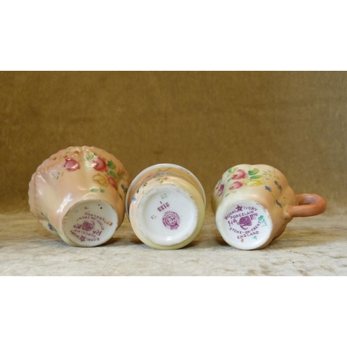 132 - A Royal Worcester Blush Small Round Lidded Trinket Box having coloured floral and leaf decoration, 4...