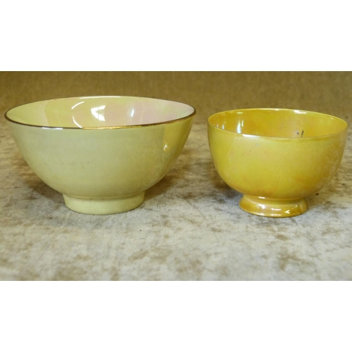 135 - A Ruskin Miniature Tea Bowl on yellow ground, 6cm diameter, also a small lustre tea bowl (2)...