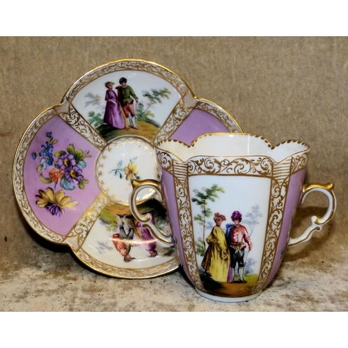 137 - A Dresden Meissen Scalloped 2-Handled Cup and Saucer on white and pink ground with multicoloured fig...