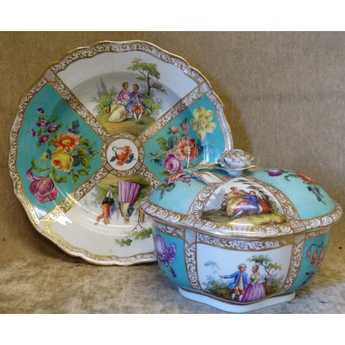 138 - A Continental Oval Scalloped Lidded Box with matching scalloped plate on white and turquoise ground ...
